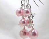 Earrings Swarovski Pearl Crystal Cluster Bridal Special Occasion Custom Color Wedding