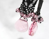 Vintage Inspired Chandelier, Pearl and Crystal Cluster, Pink Briolette Pendant, Oxidized, Darkened Silver, Spring Wedding, Bridesmaids, Long