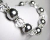 Bridal Bracelet, Crystal Pearl Bracelet, Bridal Jewelry, Elegant Wedding Jewelry, Light Grey Pearls, Hailey B225B09