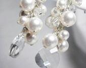 White Pearl Cluster Earrings, Bridal Jewelry, Swarovski Dangle Wedding Elegant Handmade Jewelry, AnneMarie E253B09WH