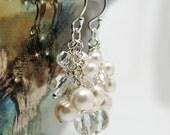 Bridal Earrings, Ivory Swarovski Pearl Cluster Earrings, Wedding Earrings, Crystal Earrings, Dangle, Bridesmaids Earrings, Crystal Jewelry