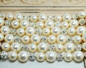 Bridal Bracelet, Rhinestone Pearl Wedding Bracelet, Thick, Chunky, Cuff Bracelet, Elegant Wedding Jewelry, Ivory Pearl Bracelet, Six Strands