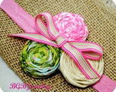 Shabby Chic Flower Hair Clip, Pink, Green, Birthday Party, Photo Props, Dance, Hand Rolled Rosette Hair Clip