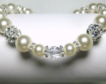 Pearl Bridal Bracelet, Ivory Pearl and Crystal Wedding Bracelet, Swarovski Pearls, Rhinestone, Wedding Jewelry, Paulina B206B07