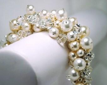 Pearl Cluster Bridal Bracelet, Swarovski Pearls and Crystals Bridal Jewelry, Rhinestone Fireballs, Thick Wedding Bracelet