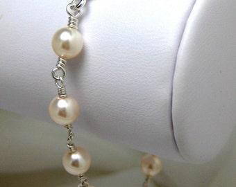Pearl Bracelet, Bridal Bracelet, Swarovski Pearl Bracelet, Classic Pearl Bracelet, Wedding Bracelet, Heirloom Handmade Bracelet, Ivory Pearl