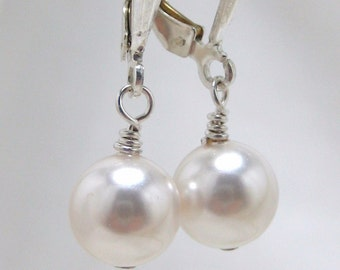 Bridal Pearl Earrings, Swarovski White Pearls, Bridal Earrings Handmade, Wedding Jewelry, Bridesmaids Earrings, Bridal Jewelry, Simple Drop