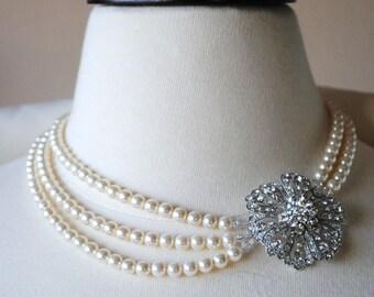 Ivory Pearl Brooch Necklace, Flower Bridal Brooch Necklace, Rhinestone Swarovski Crystal Wedding Necklace, Bridesmaids Brooch Necklace, Lyla