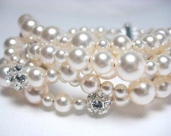 Bridal Bracelet, Ivory Swarovski Pearl Bridal Bracelet, 5 Strand Swarovski Pearl and Rhinestone Fireball Bridal Jewelry, Tassie B221B09