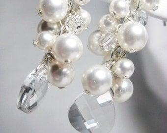 White Pearl and Crystal Cluster Earrings, Bridal Earrings, Wedding Earrings, Swarovski Briolette Earrings, Long Dangle Wedding Jewelry