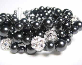 Bridal Bracelet, Black Pearl Swarovski, Rhinestone Balls, 5 Strands Elegant Wedding Jewelry, Thick Wedding Bracelet, Bridesmaids Jewelry,
