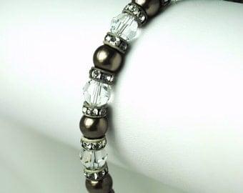 Brown Pearl Bracelet, Vintage Inspired, Oxidzed Sterling Silver, Swarovski Crystals, Rondelles, Bridesmaids Bridal Bracelet, Gothic Jewelry
