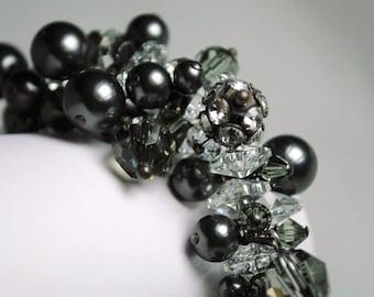 Cluster Bridal Bracelet, Swarovski Crystals, Black Pearls, Black Diamond Crystals, Wire Wrapped, Oxidized Sterling Silver, Wedding Bracelet
