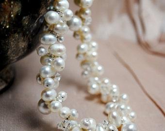 Ivory Freshwater Pearls Crystals Cluster Necklace, Bridal Wedding, Beach Wedding, Handmade Necklace, Swarovski Pearls,  Grace 100BN