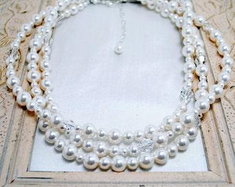 Pearl Bridal Necklace, Three Strand White Pearl Bridal Necklace, Wedding Necklace, Bridal Jewelry, Elegant Bride, Wedding Jewelry, N278