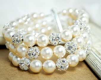 Bridal Cuff Bracelet, Ivory Pearls and Rhinestone Wedding Bracelet, Cuff Bracelet, 3 Strand Swarovski Pearl Bracelet, Wide Pearl Bracelet