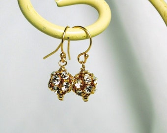 Bridal Earrings, Gold Swarovski Rhinestones Fireballs, Drop Earrings, Wedding Jewelry, Bridesmaids Gifts, Bridal Jewelry, Simple Sparkle