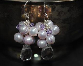 Violet Freshwater Pearl Earrings, Handmade Swarovski Crystals, Freshwater Pearls, Clear Quartz Briolette, Cluster Statement Earrings