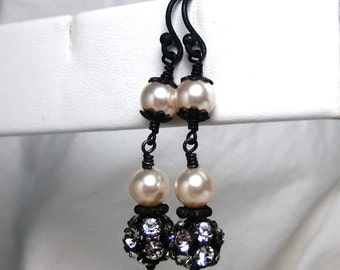 Earrings Bridal Pearl Handmade Oxidized Crystal Long Dangle, Nadia E249B09