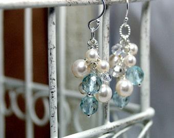 Bridal Earrings, Swarovski Ivory Pearl Earrings, Dangle Cluster Earrings, Crystal Bridal Jewelry, Aqua Quartz Earrings, Something Blue,