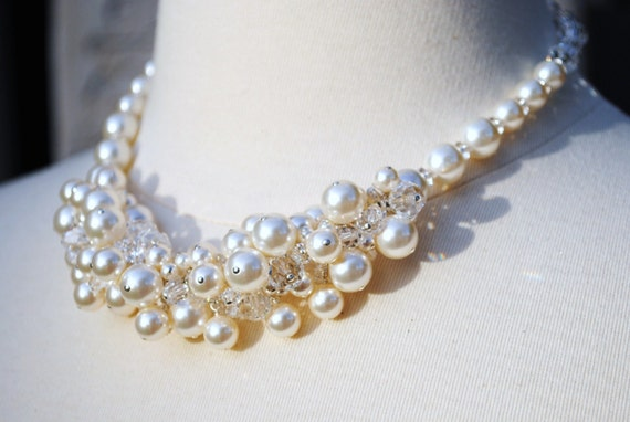 Ruby Bridal Pearl Necklace - Cluster, Crystals, Pearls, Weddings, Special Occasion, FREE SHIPPING N239B09