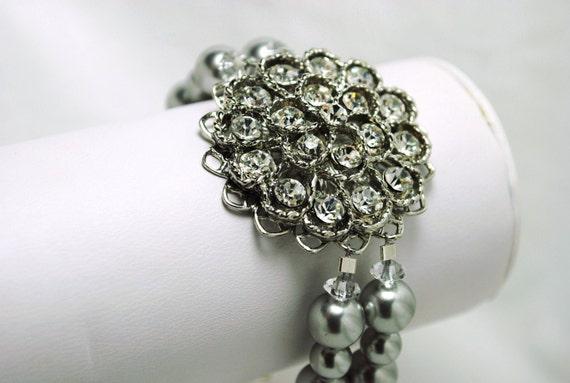 Brooch Bridal Bracelet, Light Grey Swarovski Pearls, Crystals, Wedding Jewelry, Handmade, Clemence B239B10