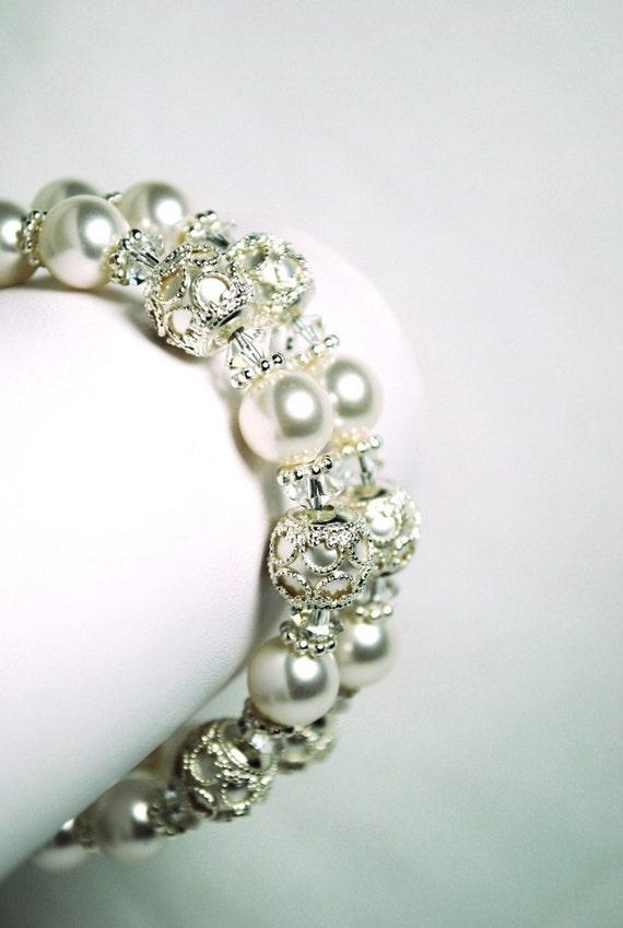 Filigree Bridal Bracelet, Filigree Bead Caps, White Swarovski Pearls, Swarovski Crystals, Double Strand, Sterling Silver, Wedding Bracelet