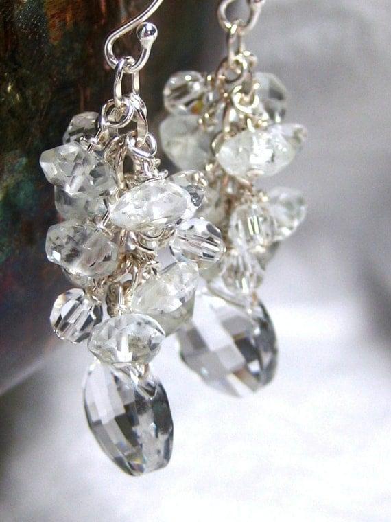 Bridal Earrings Cluster Earrings, Aquamarine, Swarovski Crystal Dangle Earrings, Crystal Briolette Pendants, Wedding Earrings, Beach Wedding