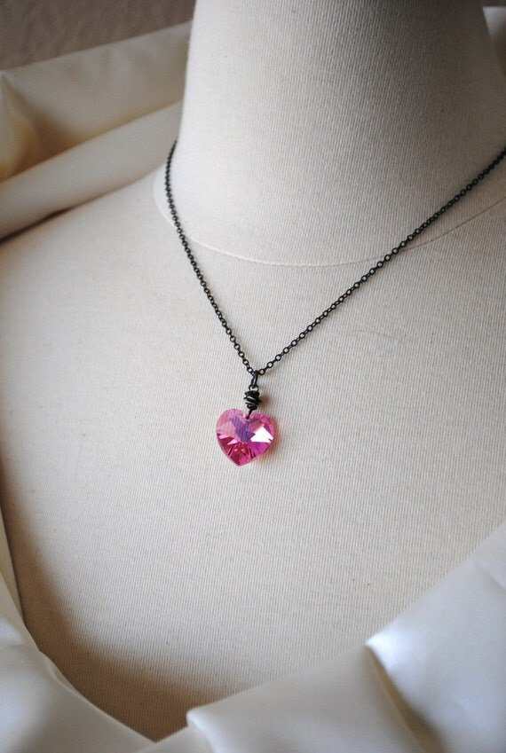 A Perfect Heart in Pink Swarovski Pendant Vintage Chain Layered Handmade Necklace