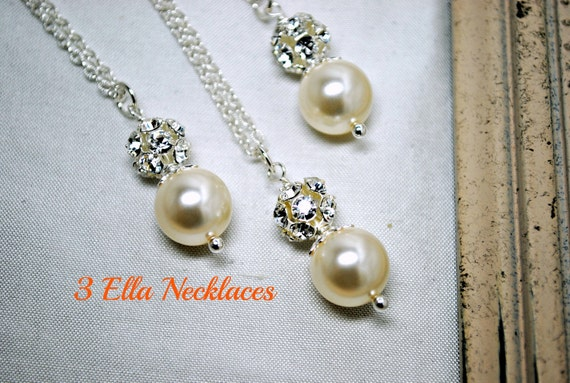 Set of 3, Three Swarovski Ivory Pearl Bridesmaids Necklaces, Rhinestone, Bridal Gifts, Pendant Pearl Necklace, Bridesmaids Necklaces