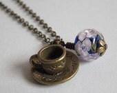 Breakfast Tea - Antiqued Bronze Necklace with Blue & Purple Lampwork Floral Bead - Tea Garden Series - Veeanca OOAK Handmade