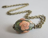 Transparent Grey & Coral Orange Twisted Rose Teardrop Lampwork Bead on Antique Bronze Necklace - OOAK Handmade Veeanca