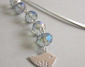 Peace Bird Bookmark - Blue rainbow lustre faceted crystal glass with silver bird dangle bookmark - Under 20