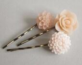 Peaches & Cream - Floral Hair Pins - Set of 3 on Antique Bronze - Veeanca Under 20