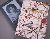 Kindle Case Nook EReader Case Chickadees and Berries Fabric