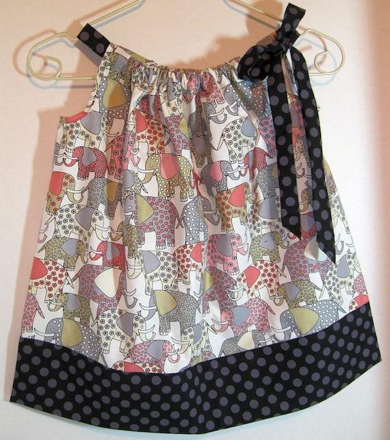 SALE Pillowcase Dress Toddlers Size 3 yrs Elephant Walk