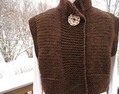 Cropped Vest in Chocolate Brown Tweed by Never Felt Better