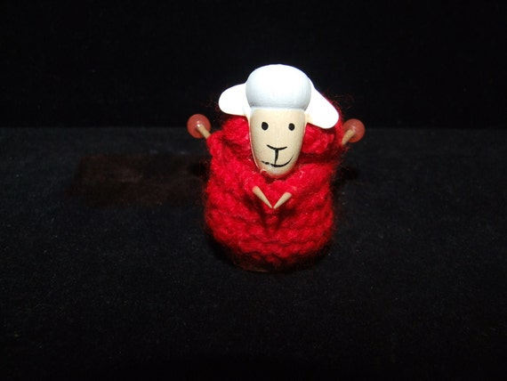 Hand-crafted  Unique Thimble sheep knitting a jumper