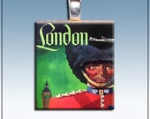 Handmade Scrabble Tile Pendant, London Vintage Travel Poster, Palace Guard
