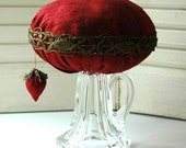 cyber monday etsy Christmas Gift for the Sewing Collector - Deep Ruby Red Dupioni Silk Make-Do Pincushion & Strawberry Emery TDIPT