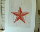 SALE Red Barn Star Original Watercolor for your country, folk art, farmhouse decor