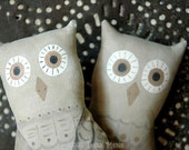 Halloween Primitive Folk Art Woodland Owls - Penelope and Percival - Autumn Fall Decor