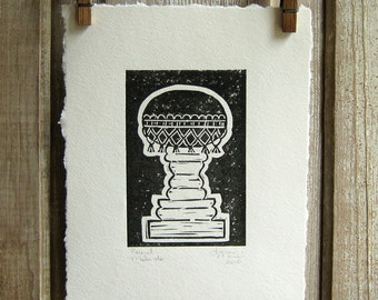 Round Make-Do Pincushion Block Print Art - relief print - linocut - black and white - inspired by early American pincushions