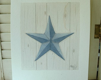 SALE Blue Barn Star Original Watercolor for your country, folk art, farmhouse decor
