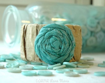 SALE Aqua & Gold Twisted, Ruched Dupioni Silk Rose Adjustable Bracelet Cuff - for the Shabby Boho Chic Mom