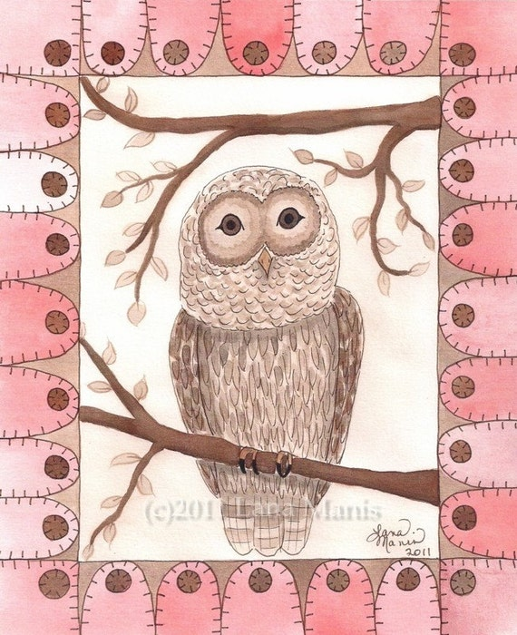 Sepia Pink Owl with Penny Rug Circle Tongue Border Whimsical Watercolor Print by Lana Manis