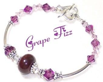 GRAPE FIZZ - Lampwork crystal silver purple bracelet BHV
