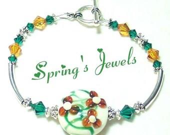 SPRING'S JEWELS Lampwork Crystal Silver bracelet