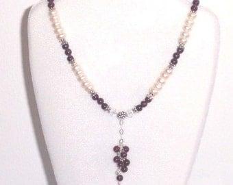 VICTORIAN ROMANCE  Garnet Pearls Necklace Earrings BHV