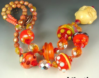 BUDDHA part 3. Glass Handmade Lampwork Beads, Beaded Jewerlry Art. Necklace, pendant. OPENSTUDIO.